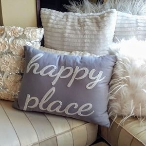 Other - Happy Place gray accent hello white embroidery